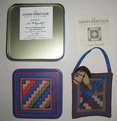 Amish Heritage Collection Quilt Tin Mini Pocket with Stick Horse Toy + History
