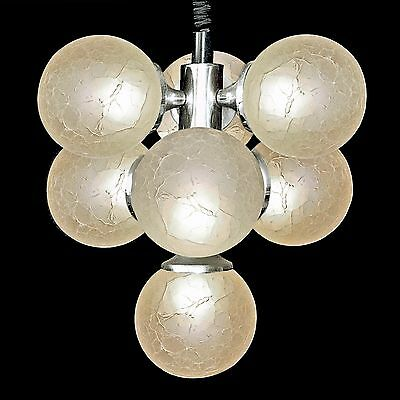 Italian Stilnovo Type Sputnik Chrome Space Age Chandelier 7 Art-Glass Globe 1960