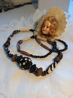 Vintage Clay  & Wood Beaded Necklace African Design.