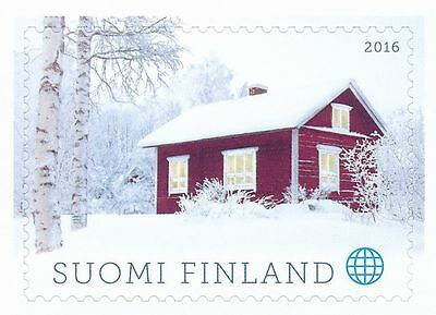 Finland 2016 MNH Stamp - Christmas - A Red Cottage - Snow - Issued Nov 10, 2016