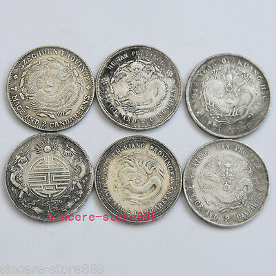 6PCS Feng Shui Chinese a Set of Dragon Face Coins / Lucky Ching Coin for Health