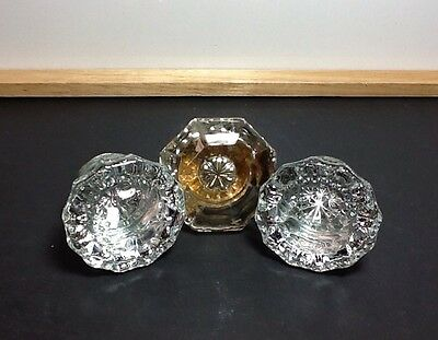 3 Vintage Glass Doorknobs