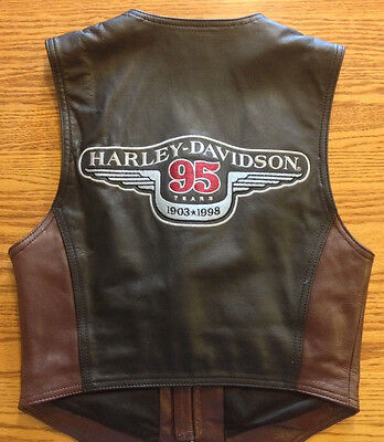 Harley Davidson Leather Vest 2-Tone 95th Anniversary 98244-98VW NWT WOMENS SMALL