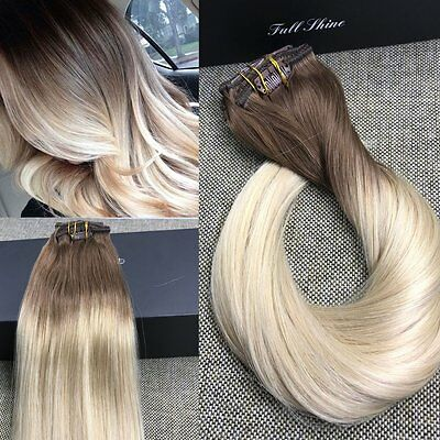 Hot Ombre Brown European Remy Clip In Human Hair Extensions Straight 7Pcs 120g