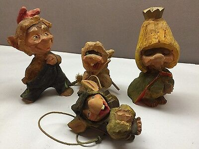 Lot of 4 Wood Hand Carved Rat Mouse HENNING  Norway Skier Swing Crown
