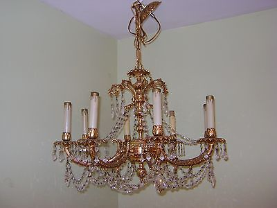 FABULOUS vintage gold chandelier with prisms and beaded chain