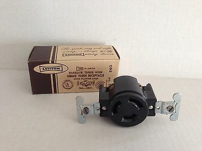 NEW OLD STOCK Leviton BLACK BAKELITE 3 Wire Flush Receptacle Mount 30a 250v