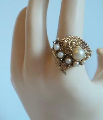 Vintage 60's Costume Jewelry Faux Pearl Roped Goldtone Adjustable Cocktail Ring