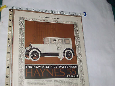 Rare 1921 Magazine Ad. Haynes 55 Sedan Touring Car, Coupe, Roadster,
