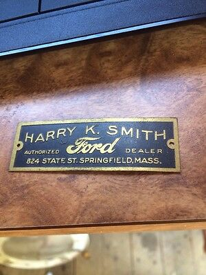 Rare 20s Ford Model A T Brass Dealer Tag Harry Smith Springfield MA Mass Antique