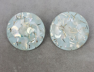 Vintage clip-on earrings confetti lucite ice blue moons with glitter large disk