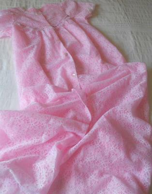 Vintage Early Target Negligee Brunch Gown White Lace Over Pink Nylon 14