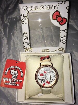 HELLO KITTY 40th ANNIVERSARY WATCH NWT White Leather Band