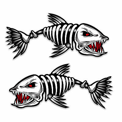 Skeleton Fish Boat Decal, Mirrored Pair, Diecut vinyl adhesive sticker 30x14cm