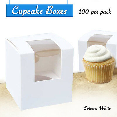 Cupcake Box 1 Hole W/Inserts Qty 100 Window Face Cake Boxes Cupcake Boxes Boards