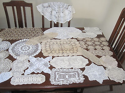 30 Vintage Hand Worked Crochet Lace Doilies ~ Craft ~ Sewing - Or To Use #3