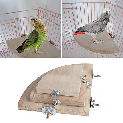 Parrot Wood Platform Stand Rack Pet Bird Toy Hamster Branch Perches Cage Hot