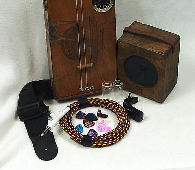 Cigar Box - 3 string acoustic or electric with amp - Guitar - Oak Neck, Fretted