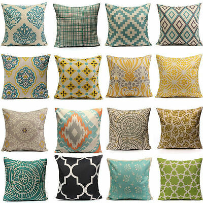 Geometric Flower Cotton Linen Throw Pillow Case Cushion Cover Home Decor Latest