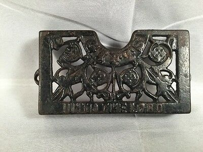 Vintage Metal Cast Iron Church Pew Offering Tithe Attendance Card Holder RARE!!!