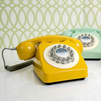 Retro 60's Telephone Vintage Corded Dial Style Push Button Desk Phone Mustard