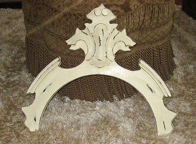 antique SHABBY ARCHED  Carved CROWN Pediment