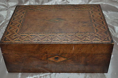 Antique Vintage Wood Hand Carved Marquetry Stationary/jewellery/trinket Box