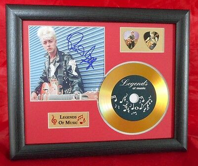 Brian Setzer Stray Cats Preprinted Autograph, Gold Disc & Plectrum Presentation
