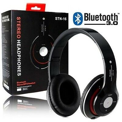 Cuffie Stereo Bluetooth Cellulari Tablet Pc Smartphone Headphone Micro Sd Nere
