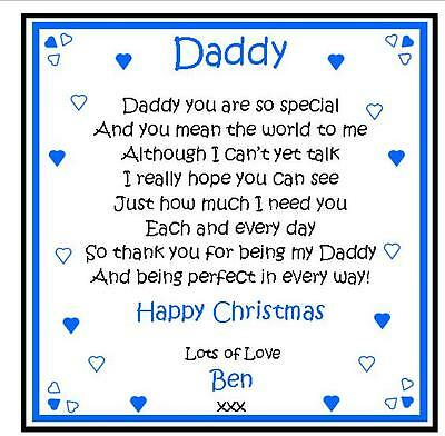 Personalised Drink Coaster Daddy - First Christmas / Birthday Gift Idea - POEM