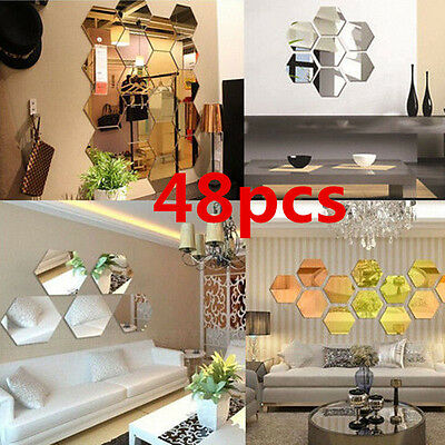 3D Hexagonal Miroir Stickers Muraux Amovible Autocollant Maison Art DIY Décor