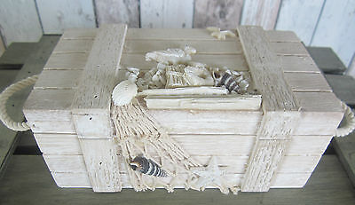 Shabby Chic Wooden Beach Trinket Box Chest Net Starfish Shells Seagulls Small Sz