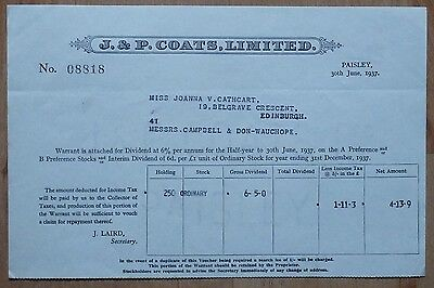 J. & P. Coats, Limited share dividend Paisley 1937 No:08818