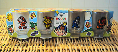 Vintage set of 4 un-used & boxed Noddy glass tumblers by Ravenhead ~