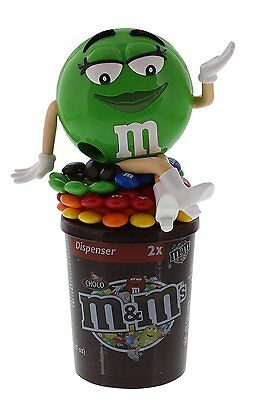 """M&M's Chocolate Dispenser """" Green Lady """" Exp.Date 04-2017 NEW"""