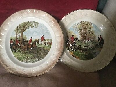 Two Vintage Fox Hunting Royal Worcester Palissy Plates,The Brook & Well Cleared