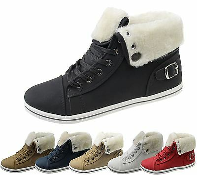 Girls Boots Womens Warm Lined High Top Ankle Trainer Ladies Winter Shoes Size