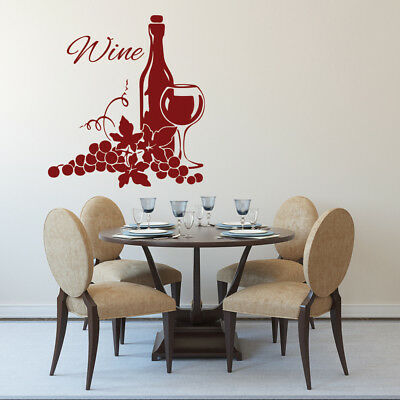 Wine Bottle Embellishment Glass Grapes Food And Drink Wall Sticker Kitchen Decal