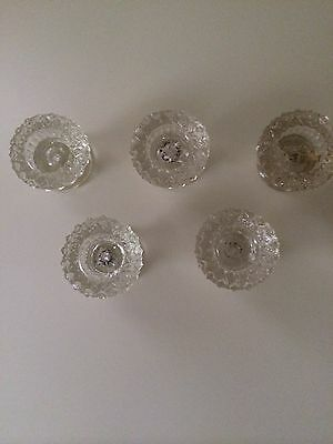 5 Antique Glass Cabinet Draw Pull Knobs
