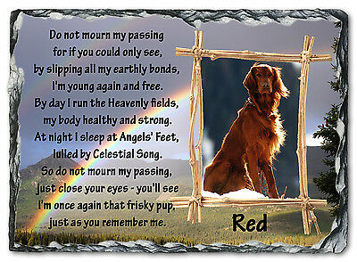 Beautiful Personalised Pet /Dog Memorial Photo Slate Plaque - Do Not Mourn