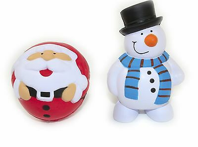 SANTA and SNOWMAN anti stress reliever, ADHD, Physio, Arthritis,2 x stressballs