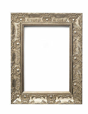 WIDE Ornate Shabby Chic Antique swept Picture frame photo ANTIQUE SILVER /MUSE