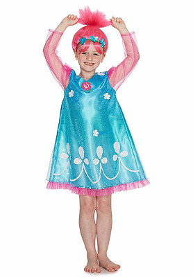 Girls Trolls Poppy Fancy Dress Costume with soundtrack & wig Kids  3-8 Years