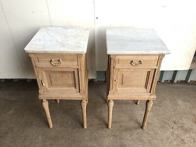 Pair of French Stripped Oak Bedside Cabinets