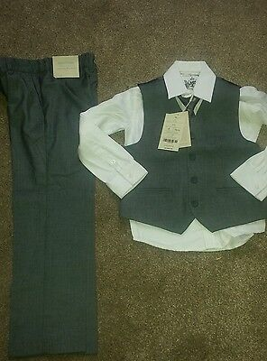 BNWT Monsoon boys 4 piece set waistcoat , shirt, tie and trousers. Age 6 years