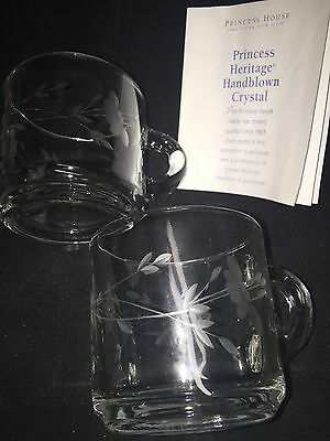 2 Princess House Heritage Etched Floral Crystal Glass COFFEE/TEA Cups Mugs