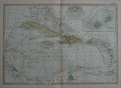 Original 1897 Map WEST INDIES Bermuda Cuba Haiti Trinidad Aruba Steamship Routes