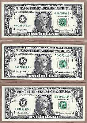"""(3) - 1999 *STAR* Notes - CONSECUTIVE Low Serial Numbers - """"000"""" - Crisp UNC"""
