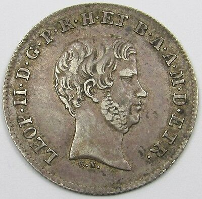 ITALIAN STATES (TUSCANY)  -  LEOPOLD II  1 PAOLO SILVER COIN dated 1858