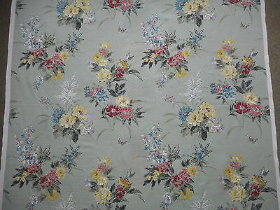 Unused vintage 50's abstract floral barkcloth fabric - 1M lengths, mint green